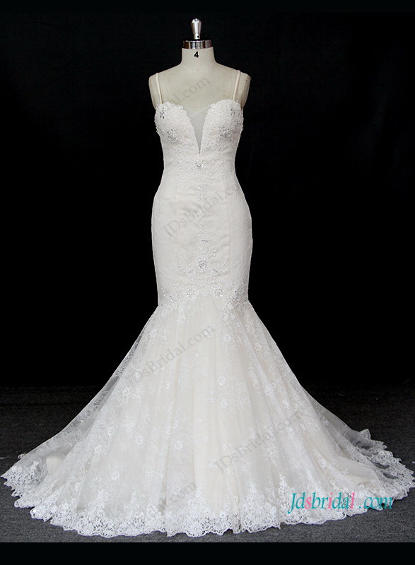 H1301 Sexy low back champagne with ivory lace mermaid wedding dress