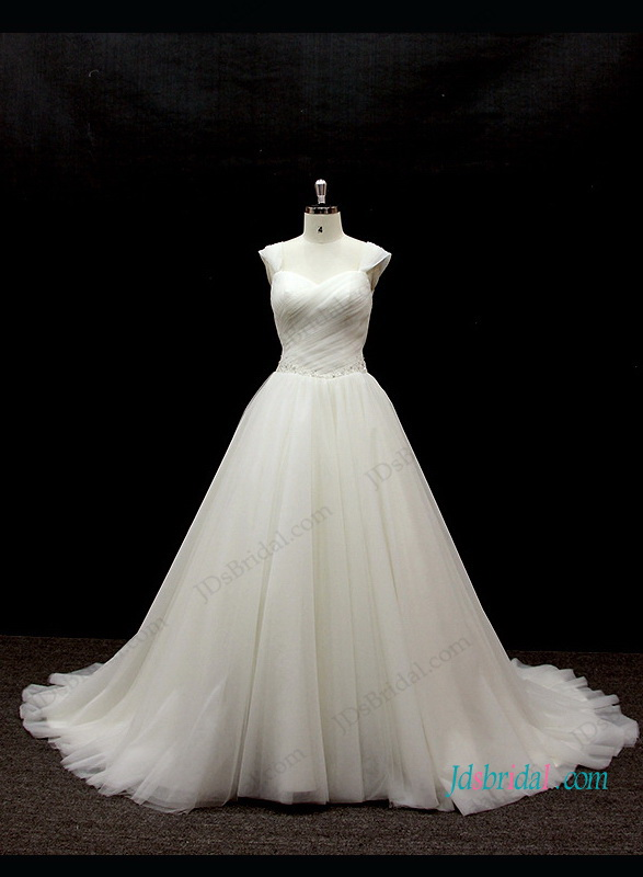h1302 Plus size cap sleeved tulle ball gown wedding dress