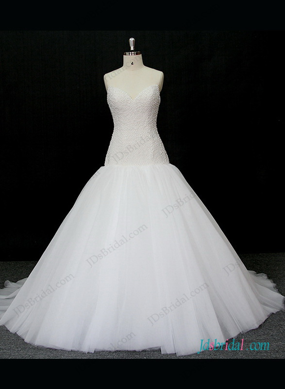h1303 Sexy full pearls accented bodice tulle ball gown wedding dress