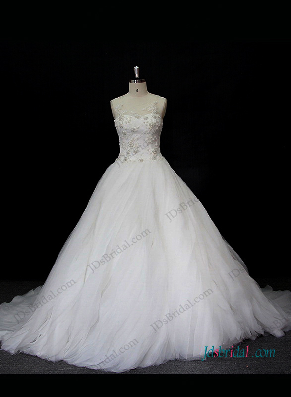 gorgeous organza ruffled ball gown wedding dress with sheer tulle scoop neck top and beading bodice