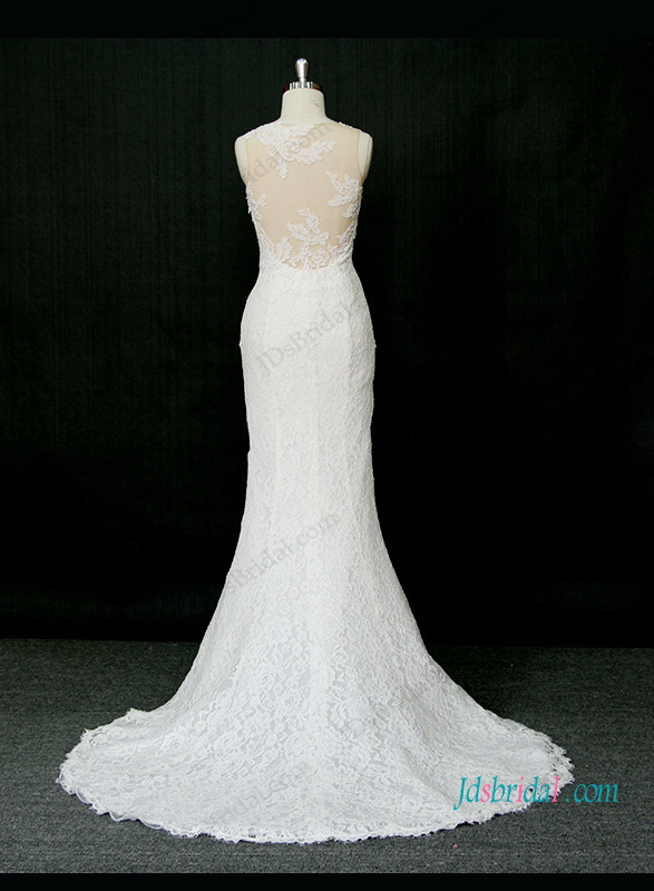 H1305 Sexy illusion nude tulle back mermaid lace wedding dress