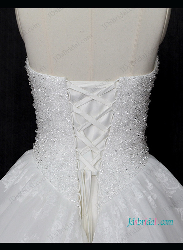 h1306 Sparkly beading bodice lace bottom princess wedding dress