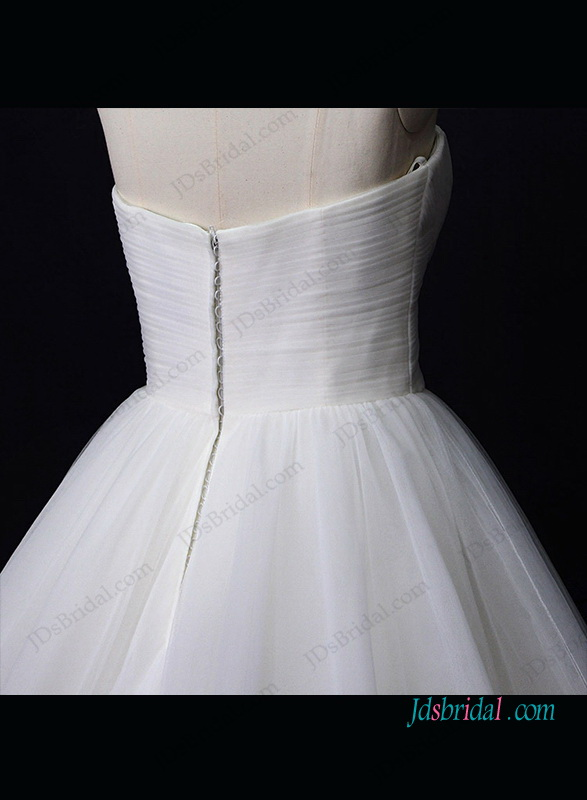 h1307 Gorgeous plain tulle sweetheart ball gown wedding dress