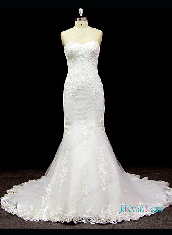 h1309 Sexy sweetheart neck lace detailed mermaid wedding dress
