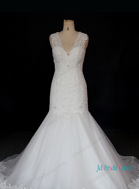 h1311 Illusion lace strappy v neck mermaid wedding dress