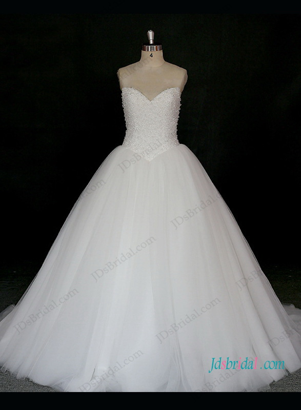 h1312 Sparkly beading princess tulle ball gown wedding dress