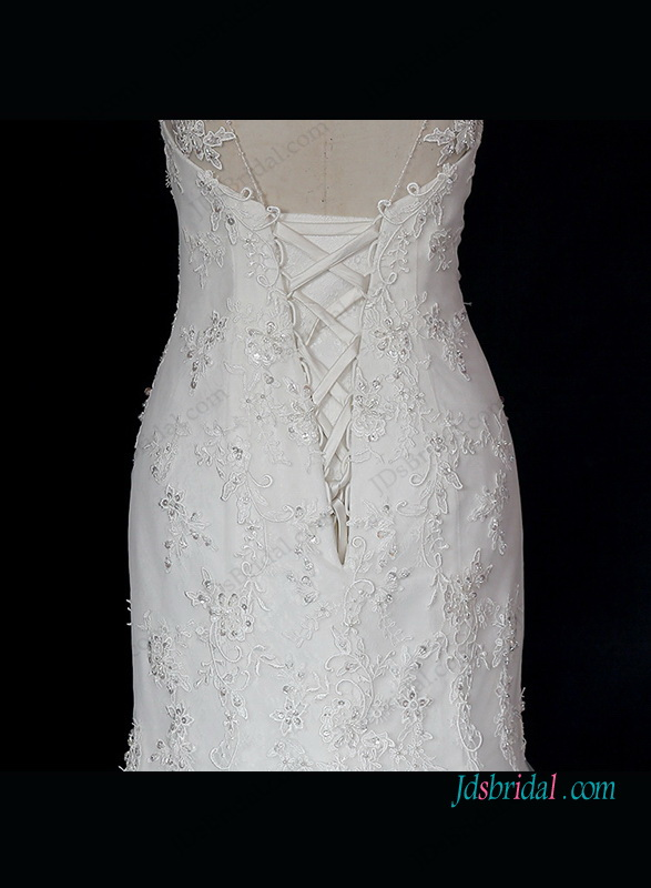 h1314 Stunning illusion scoop neck lace mermaid wedding dress