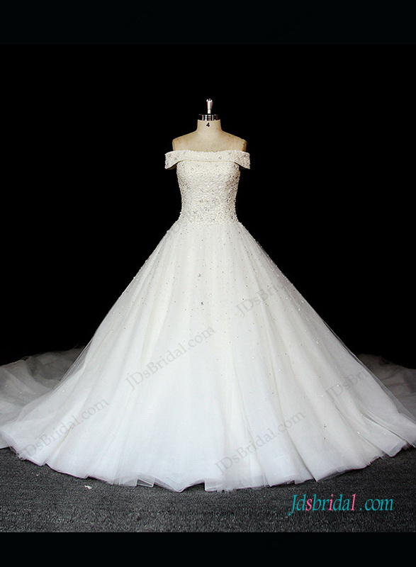 H1319 Vintage pearls off shoulder tulle princess wedding gown