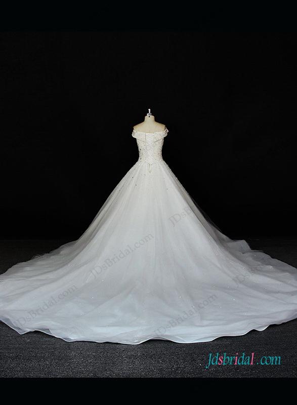 H1319 Vintage pearls off shoulder tulle princess wedding gown :