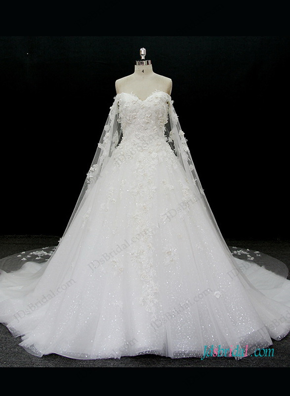 H1320 Luxury florals sparkly princess wedding dress with watteau train