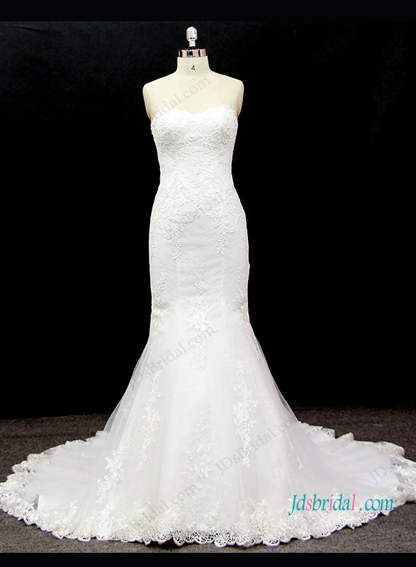 H1321 Beautiful strapless mermaid wedding dress with lace up