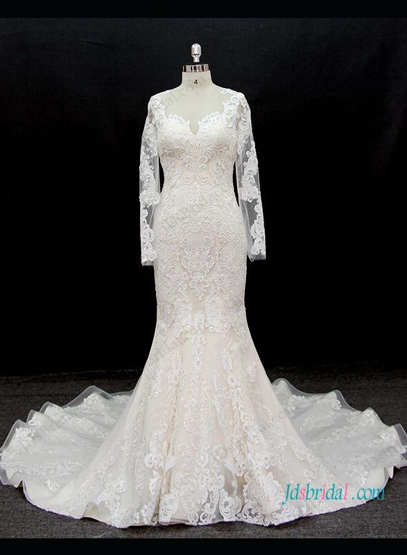 Champagne Wedding Dress With Ivory Lace Overlay High Cut