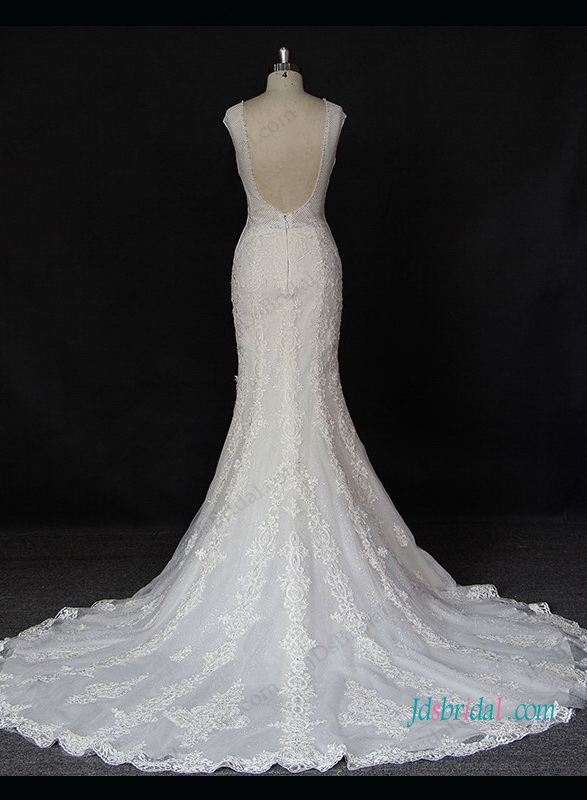 H1324 Sexy sheer scoop top backless mermaid lace wedding dress