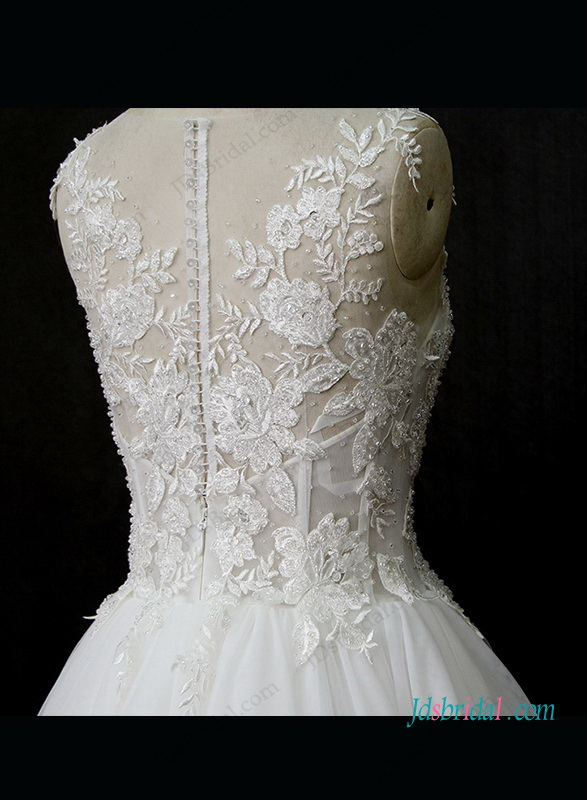 H1327 Sexy see through lace bodice tulle bottom wedding dress