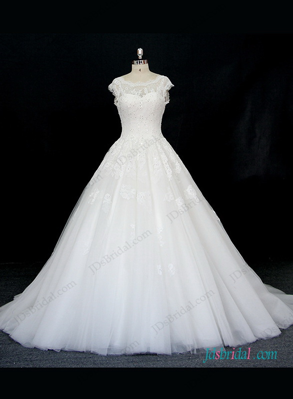 H1328 dreamy illusion lace top princess wedding bridal dress for Wedding dress with illusion top
