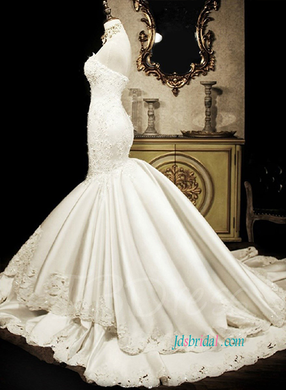 F0008 Sexy mermaid bridal wedding dress with sweetheart neckline