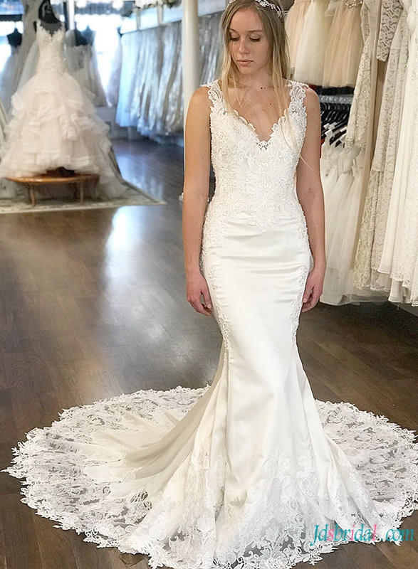 H0738 Sexy illusion lace low back mermaid wedding dress trends