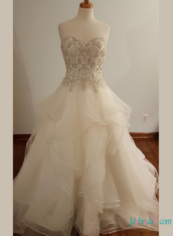 H0742 Exquisite beading embroidery organza ball gown wedding dress