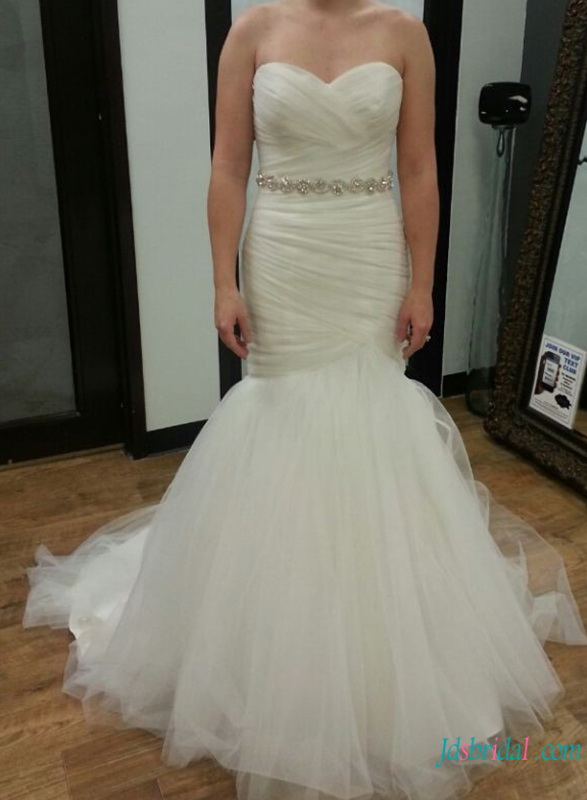 H0744 Sweetheart mermaid tulle wedding dress for sale