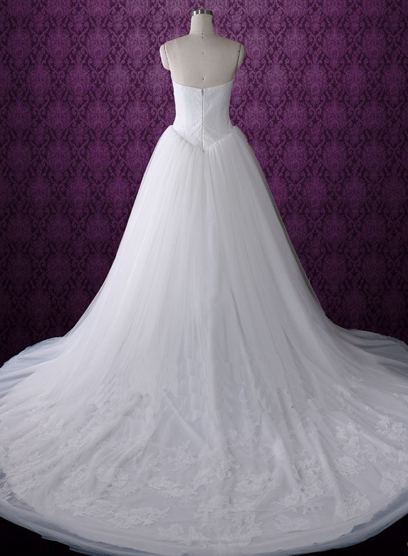 H0747 Lace top gathering tulle bottom wedding dress ball gown