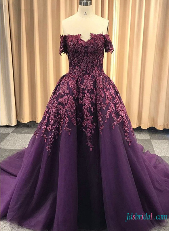 H0752 Nontraditional Purple off shoulder tulle ball gown wedding dress