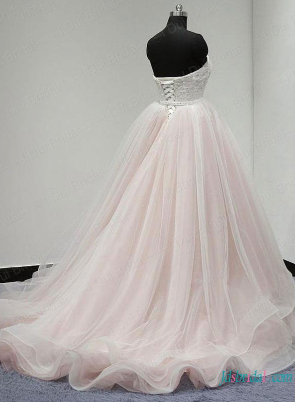 blush pink and white lace organza ball gown wedding dress for 2019 wedding trends