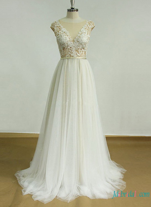 H0761 Sexy nude and ivory tulle summer wedding dress