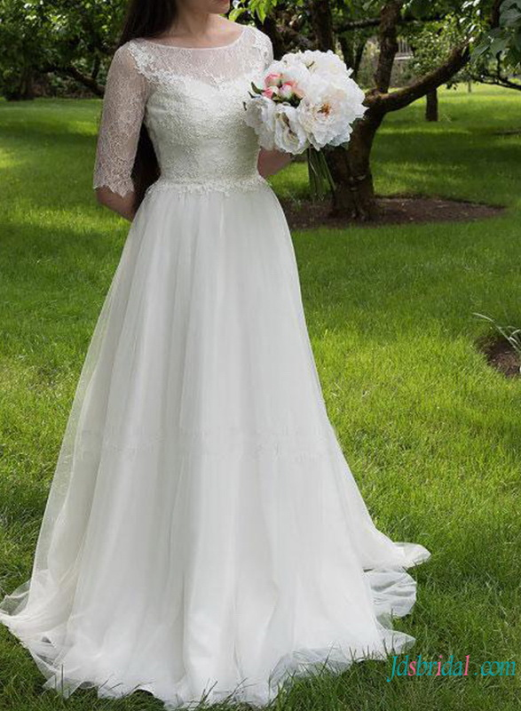 H0763 Romance illusion lace back wedding dress with sleeves