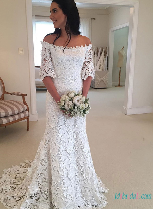 Lace Vintage Wedding Dress.Half Sleeve Bridal Gowns Vintage Wedding Dresses With 1 2 Sleeves