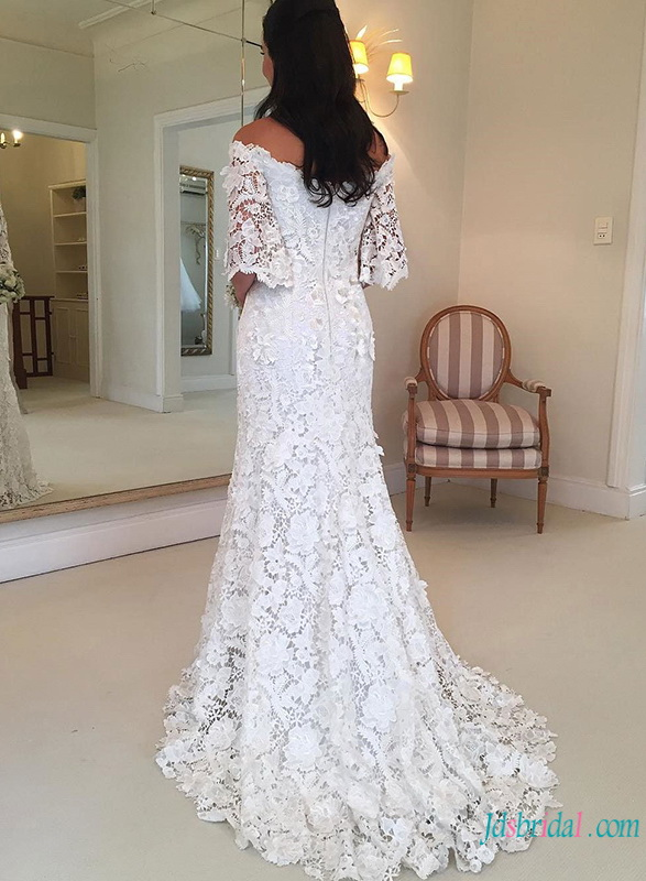 H0764 Modest off the shoulder vintage lace mermaid wedding dress