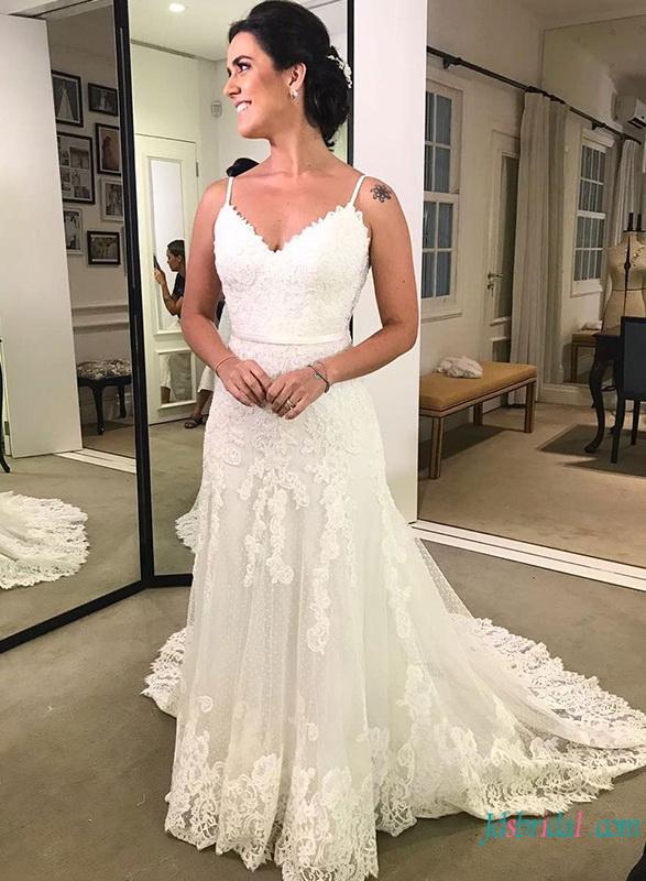 Spaghetti Straps Wedding Dressessweetheart Low Back Mermaid Wedding