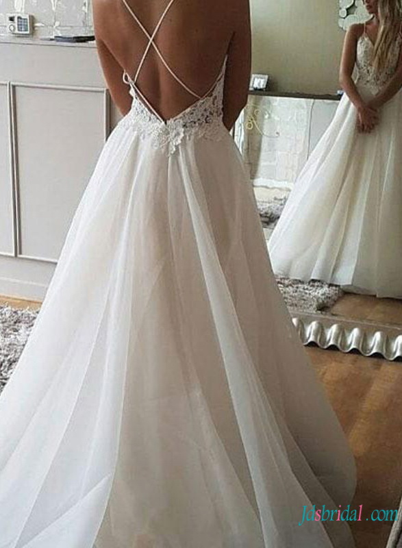 H0766 Sexy backless organza ball gown wedding dress