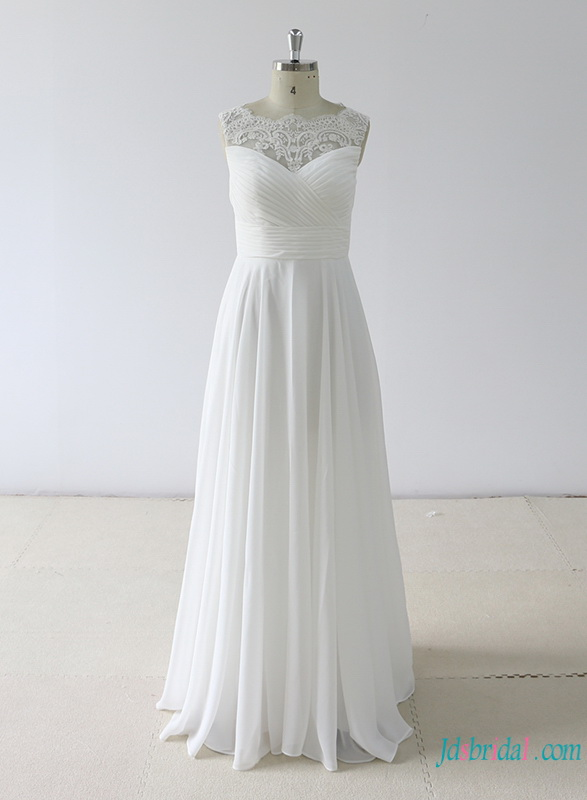 H0768 Simple white chiffon a line beach wedding dress