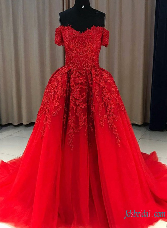 H0771 Red burgundy off the shoulder ball gown wedding dress