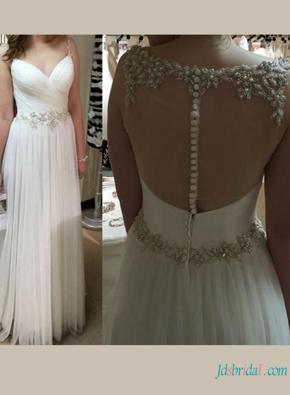 cheap flowy tulle a line wedding dress with sheer back and beading details