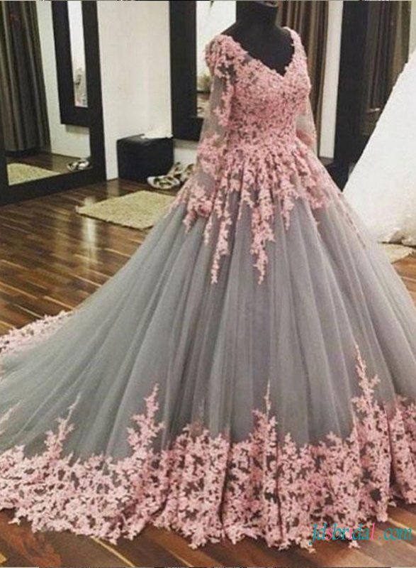 H0781 Grey and pink tulle ball gown wedding dress prom gown