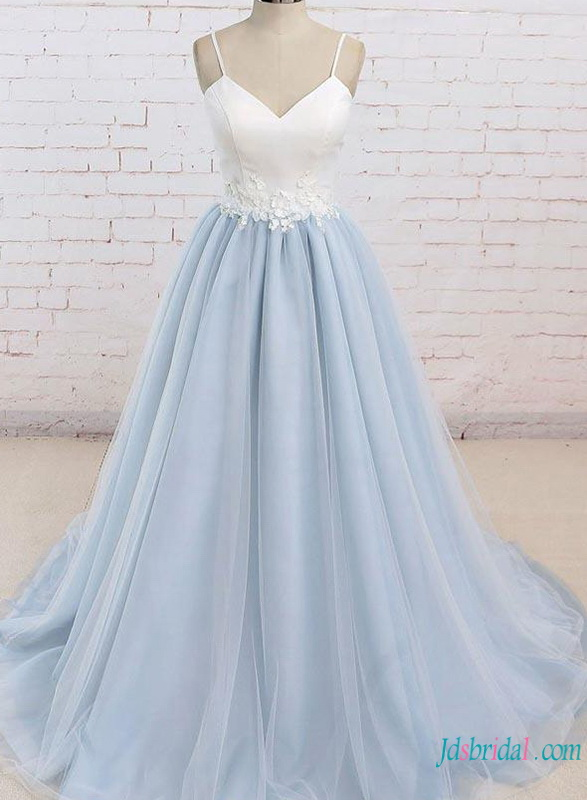 H0782 Simple nontraditional white and blue wedding dress