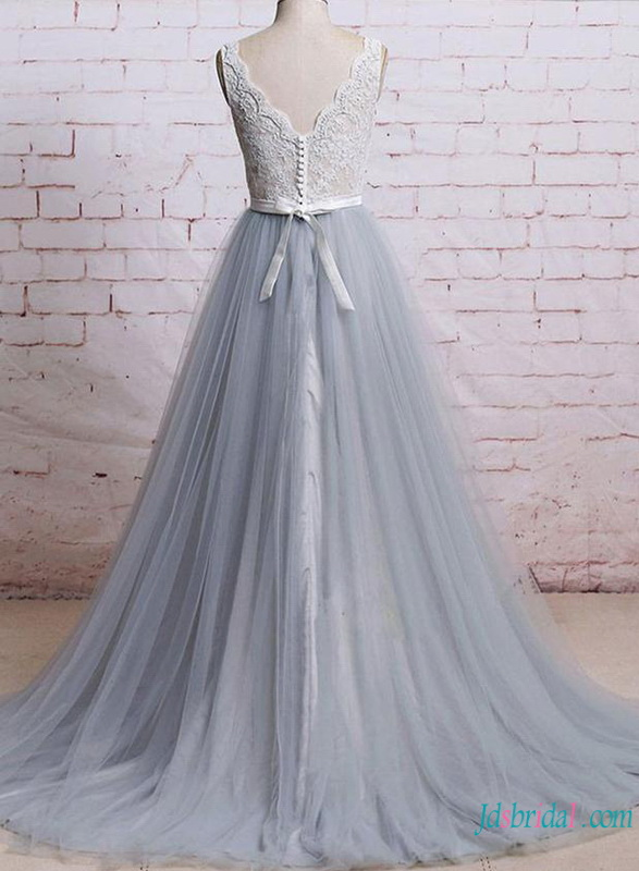 H0783 Unconventional Grey and white tulle wedding dress