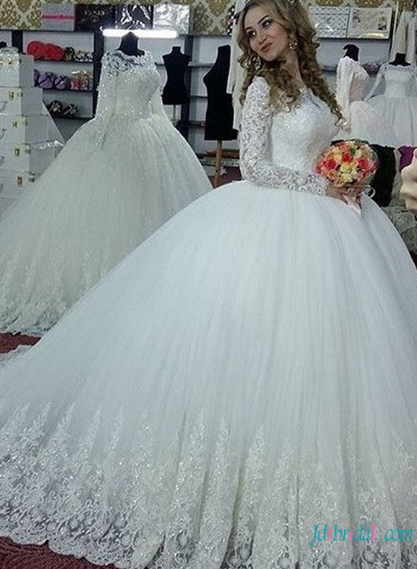 H0784 Long sleeves princess tulle ball gown wedding dress