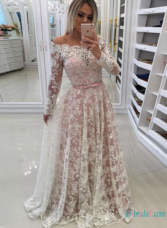 ea10fbe6ff2 H0785 White lace with pink lining off the shoulder wedding dress :