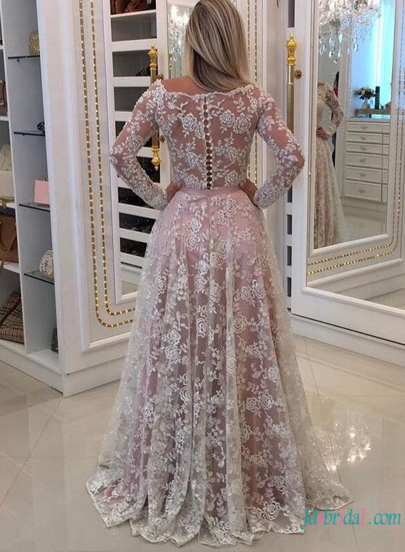 H0785 White lace with pink lining off the shoulder wedding dress