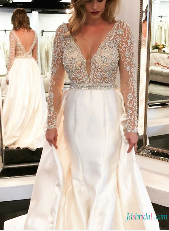 H0786 Sophisticated beading colored glam wedding dress