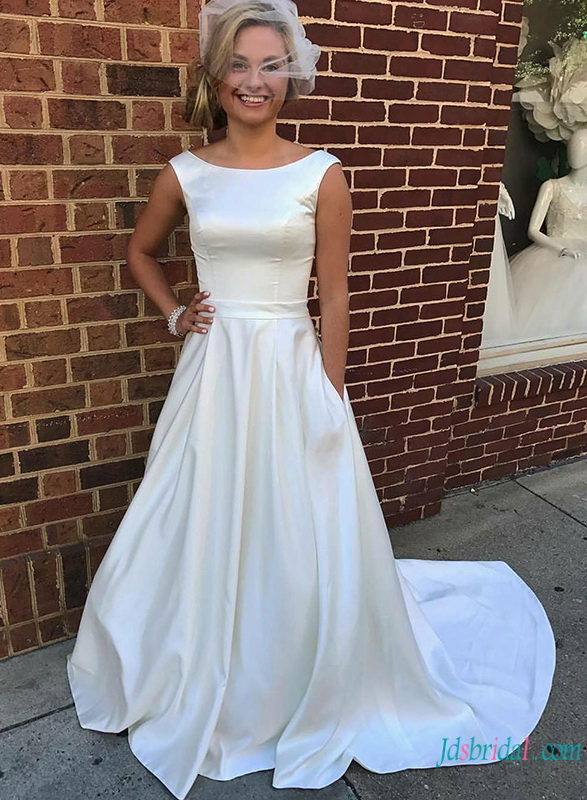 H0788 Simple satin ball gown wedding dress with pockets