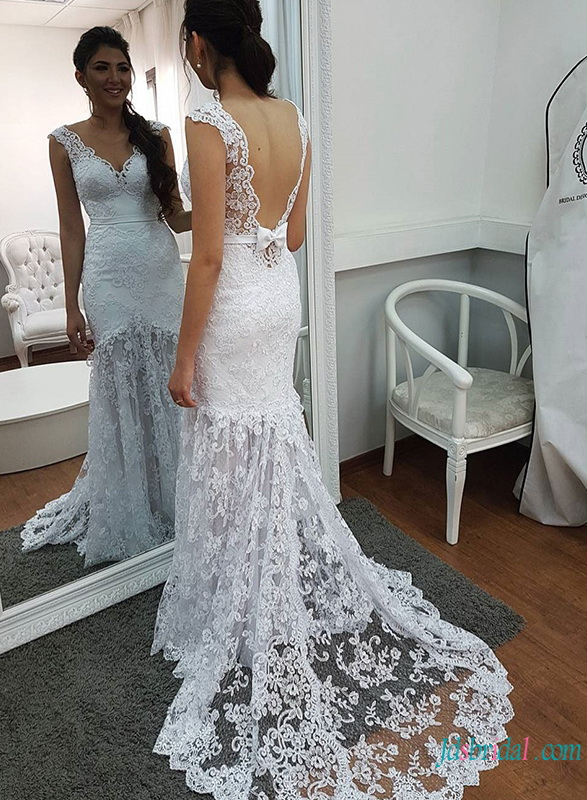 H0789 Fashion modern white lace mermaid wedding dress