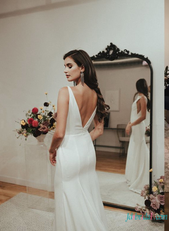 sexy deep v neckline simply mermaid wedding dress with v cut back and sweep train