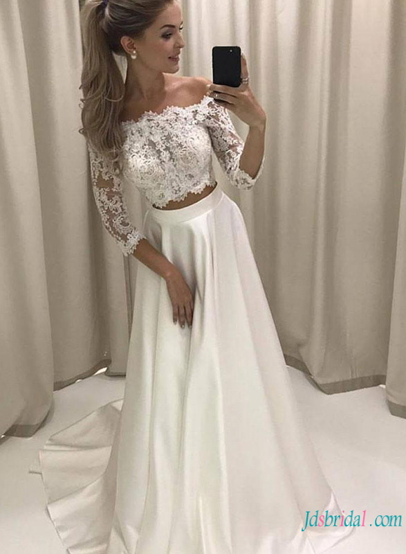 eb562495e24 H0793 Sexy off the shoulder separates lace wedding dress