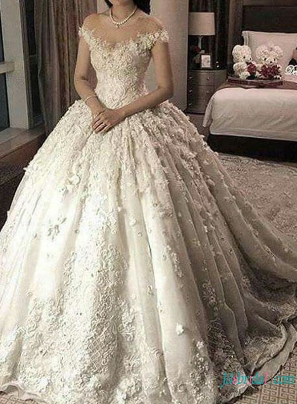 H0794 Luxury sheer bateau neckline lace wedding ball gown