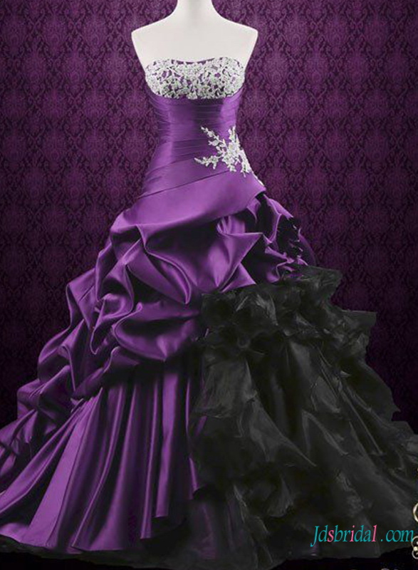 H0795 Gothic Purple And Black Ball Gown Wedding Dress