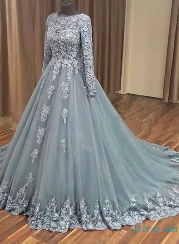 H0797 Unique gray color tulle lace ball gown wedding prom dress