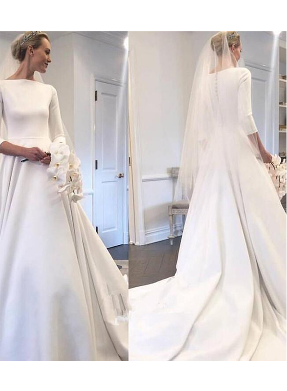sexy U cut low back 3/4 length sleeved satin ball gown wedding dress with bateau neckline
